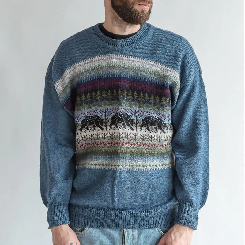 Men's casual printed color long-sleeved sweater - yatacity