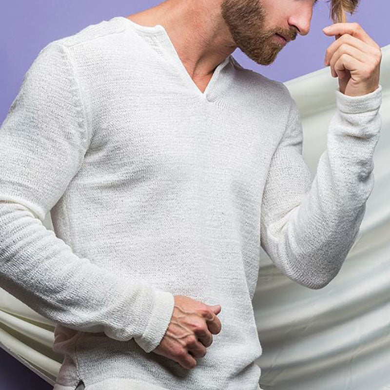 Men's Fashion Solid Color Long Sleeve Sweater - yatacity