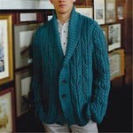 Men's lapel solid color single-breasted knit cardigan - yatacity