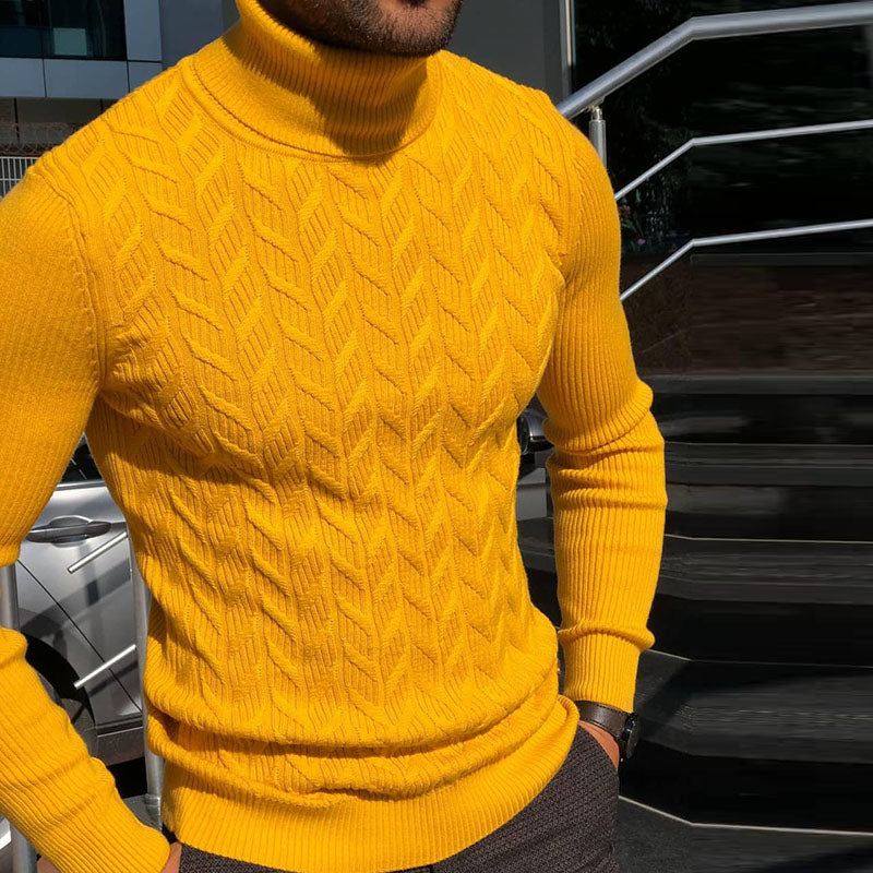 Mens Casual High Collar Solid Colour Bodycon Sweater - yatacity