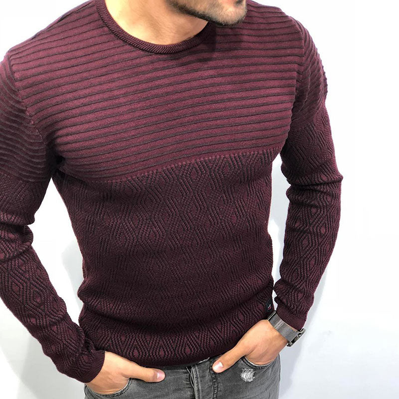 Contrast round neck men's casual sweater - yatacity