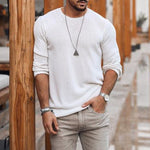 Men's Fashion Round Neck Pure Color Knit Sweater - yatacity
