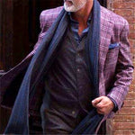 Purple Mens Plaid Suit Jacket - yatacity