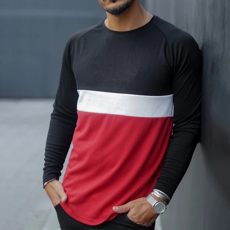 Men's fashion solid color spliced long-sleeved T-shirt - yatacity