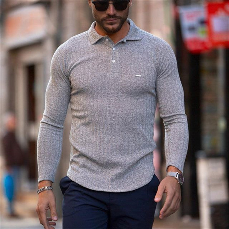 Men fashion casual solid color knit shirt - yatacity