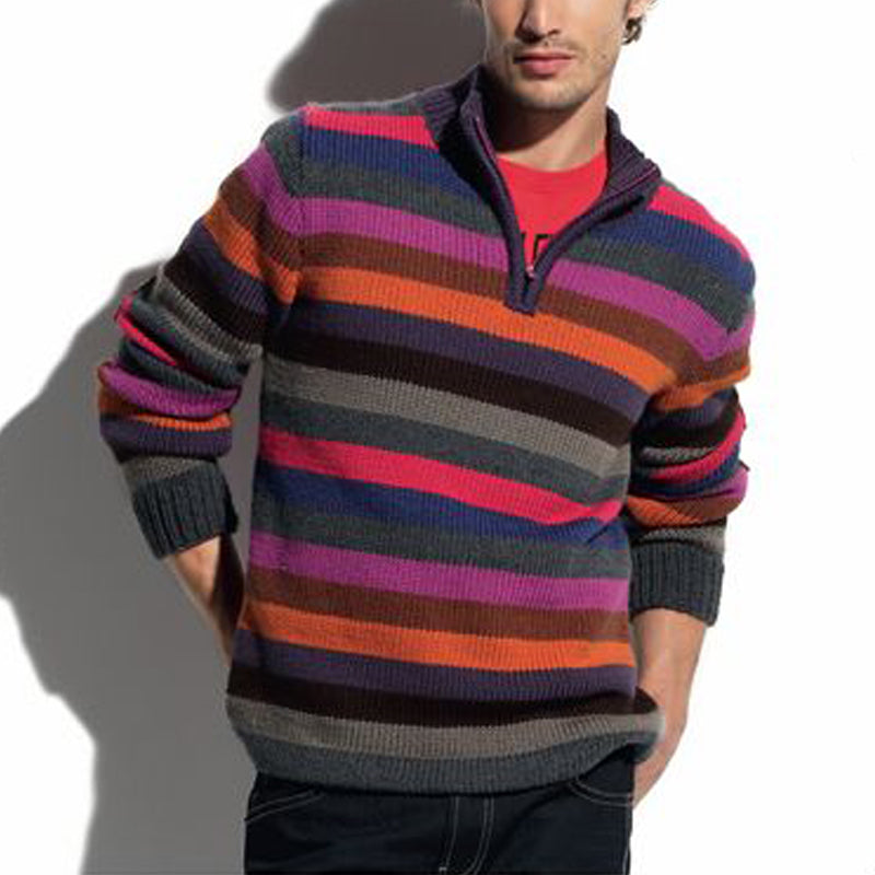Men's Fashion Multicolor Striped Turtleneck Knit Sweater - yatacity