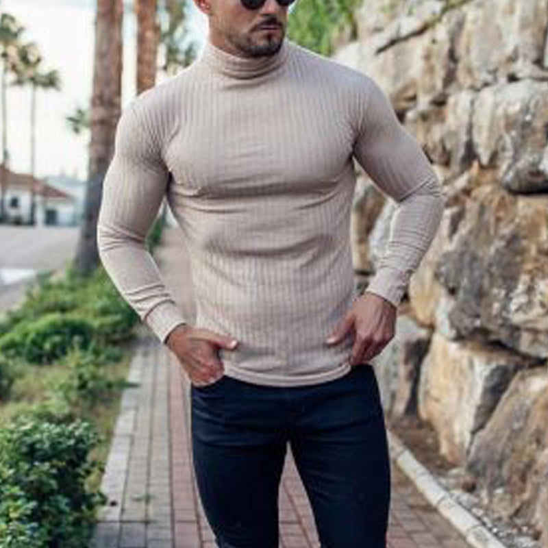 Men's Stylish Turtleneck Long Sleeve Knit Sweater - yatacity