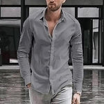 Long-Sleeved Solid Color Oxford   Shirt Casual Men's Shirt - yatacity