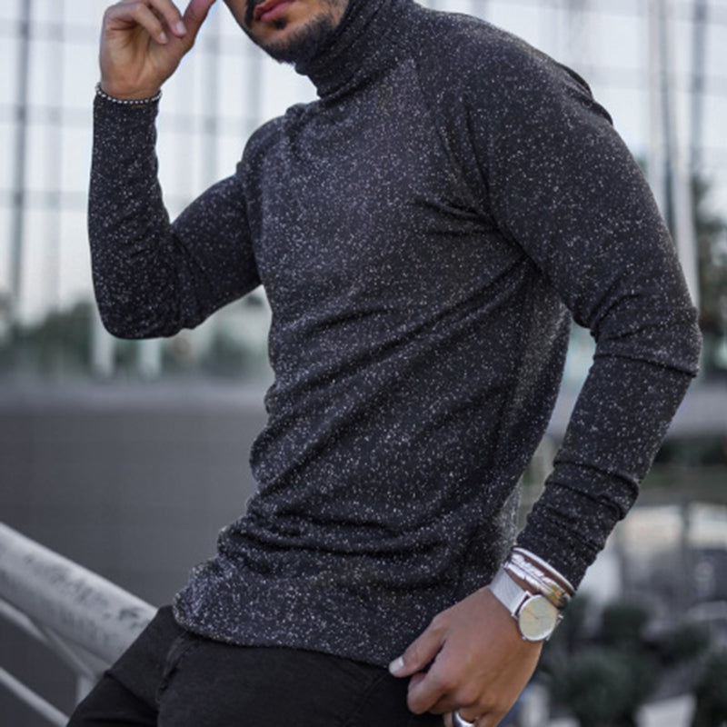 Casual Turtleneck Solid Color Long Sleeve T-Shirt - yatacity