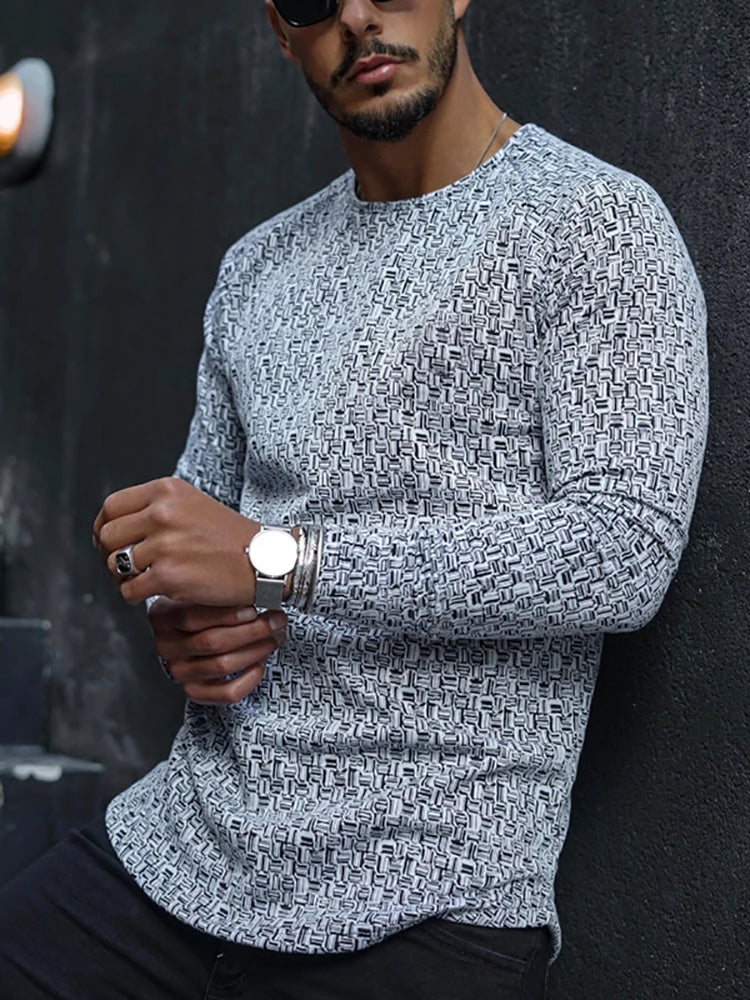 Fashion Round Neck Long Sleeve T-shirt - yatacity
