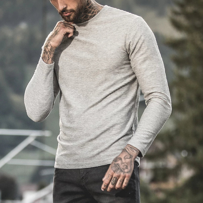 Mens Casual Solid Colour Round Neck Sweater - yatacity