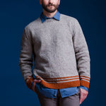 Men's Round Collar Orange Striped Sweater - yatacity