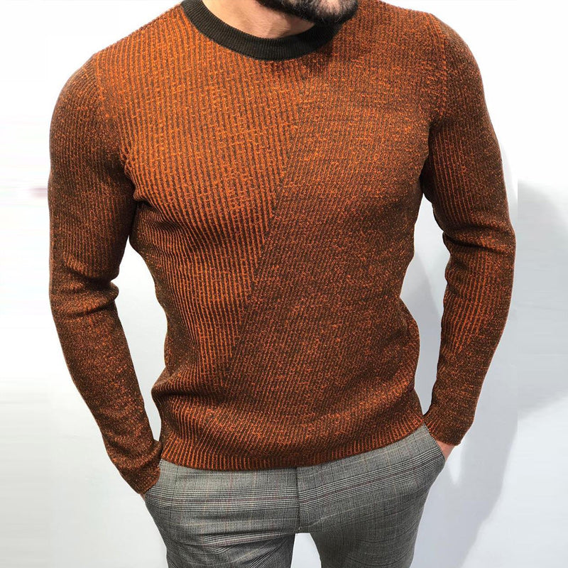 Men's Casual Round Neck Slim Brown Sweater - yatacity