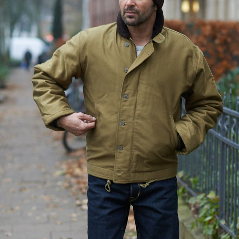 Men's Classic Single-Breasted Solid Color Jacket
