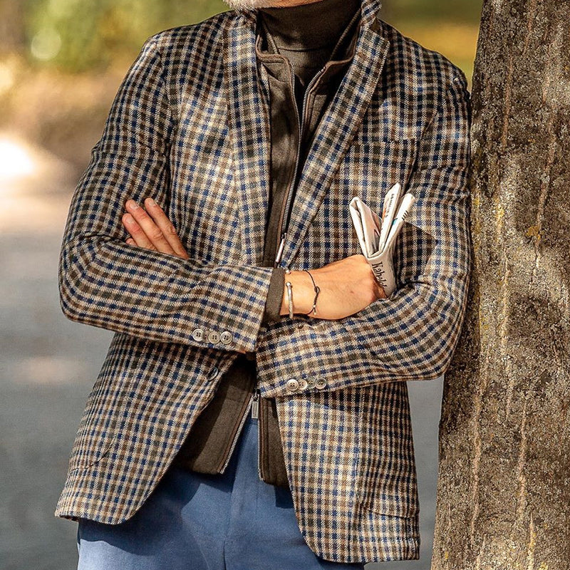Casual Double Pocket Plaid Suit Jacket - yatacity