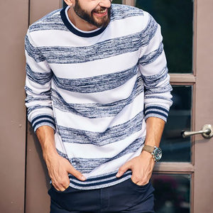 Casual Stripe Round Neck Knit Top - yatacity