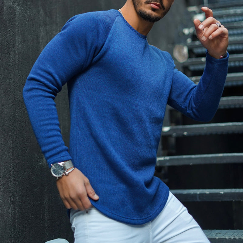 Men's fashion casual pure color round neck t-shirt - yatacity