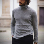Men fashion casual solid color high neck knit shirt - yatacity