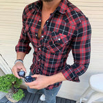 Casual Men's Lapel Single Breasted Check Shirt - yatacity