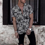 Summer   Fashion Printed Short-Sleeved Shirt - yatacity
