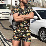 Summer Men's Print Short Sleeve Jumpsuit - yatacity