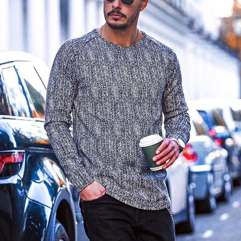 Stylish round neck print long sleeve T-shirt - yatacity
