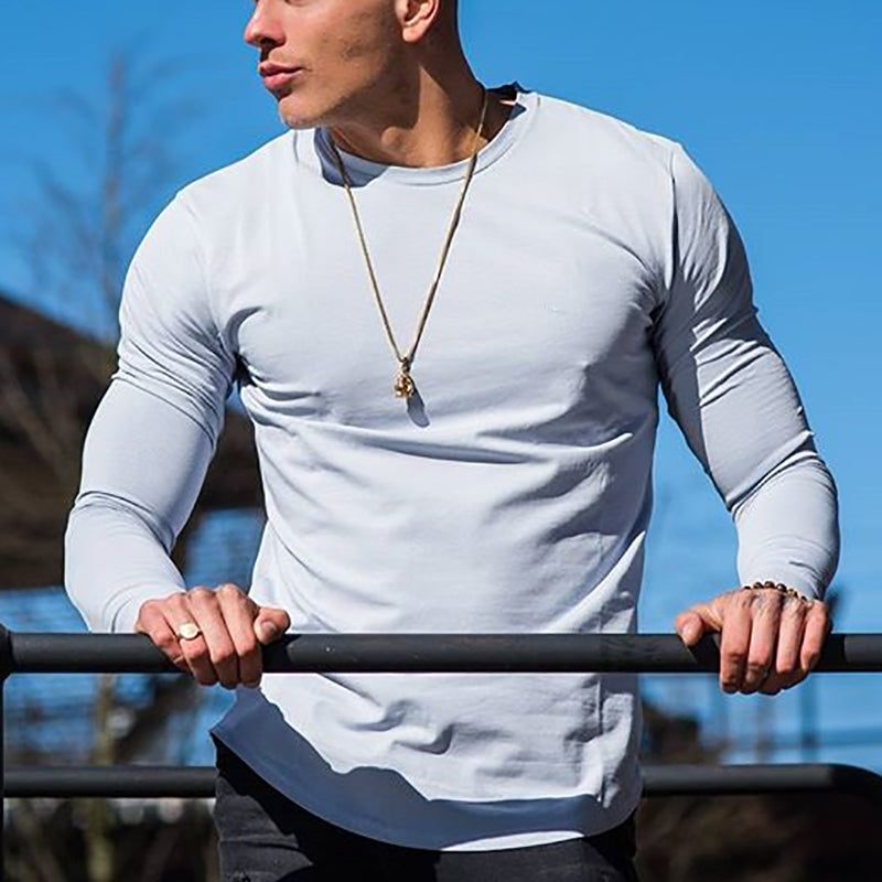 Men's Casual Round Neck Solid T-Shirt - yatacity