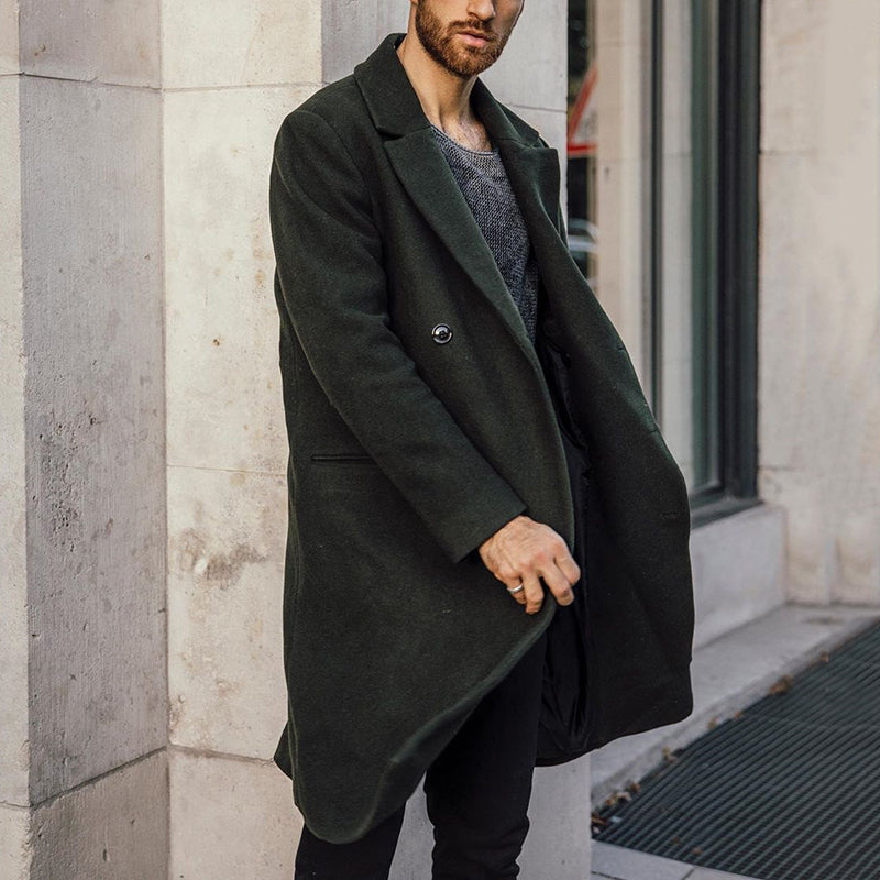 Men's solid color classic lapel wool coat - yatacity