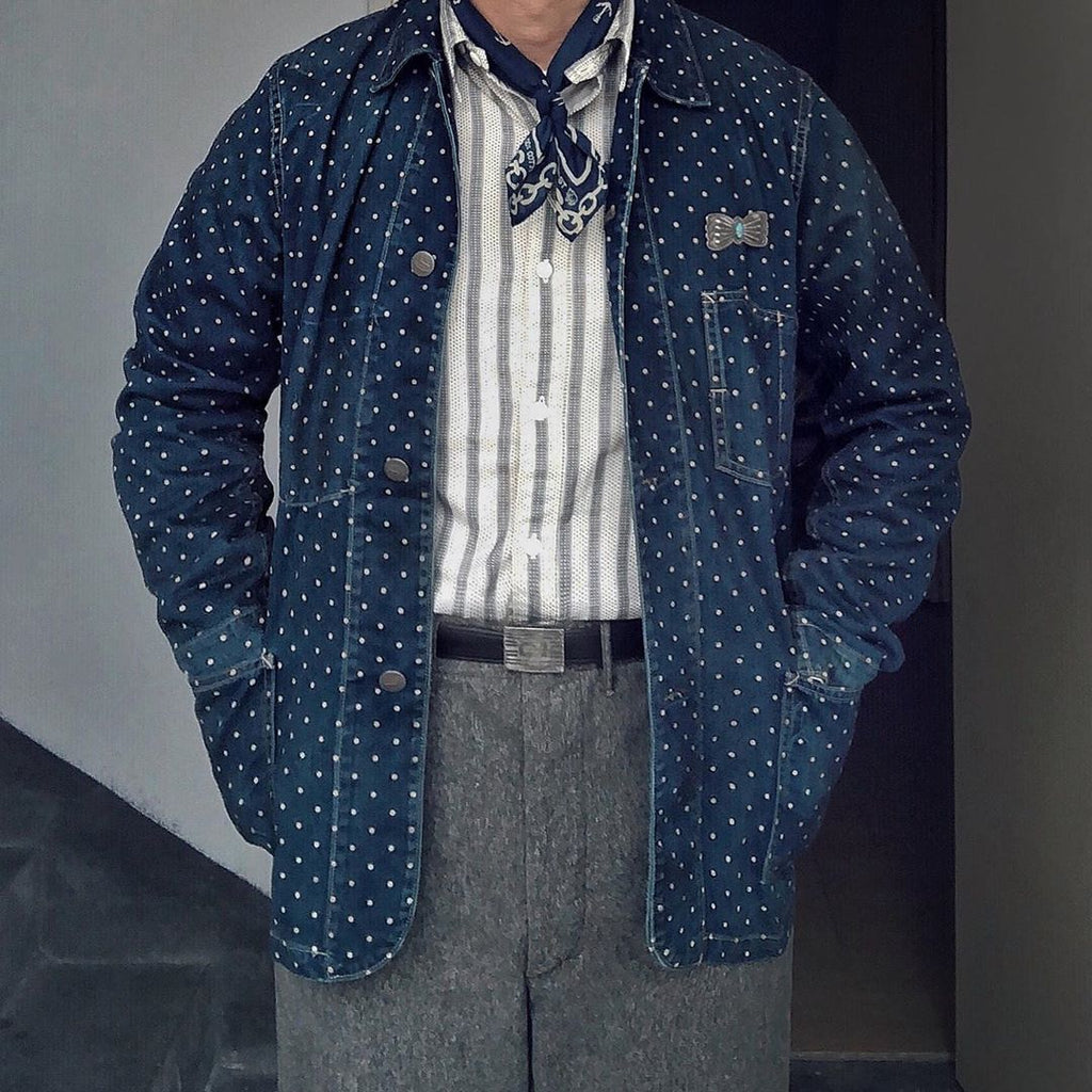 Men's Pocket Print Polka Dot Coat - yatacity
