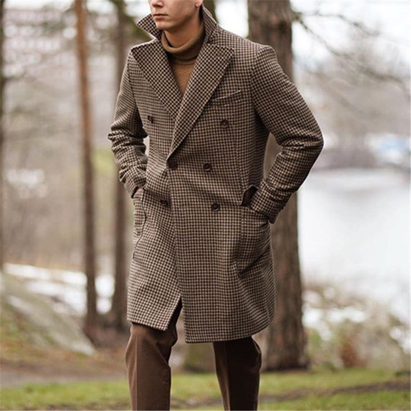 Casual Lapel Plaid Double-breasted Coat - yatacity