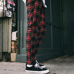 Men's Stylish Red Checked Pants Casual Pants - yatacity