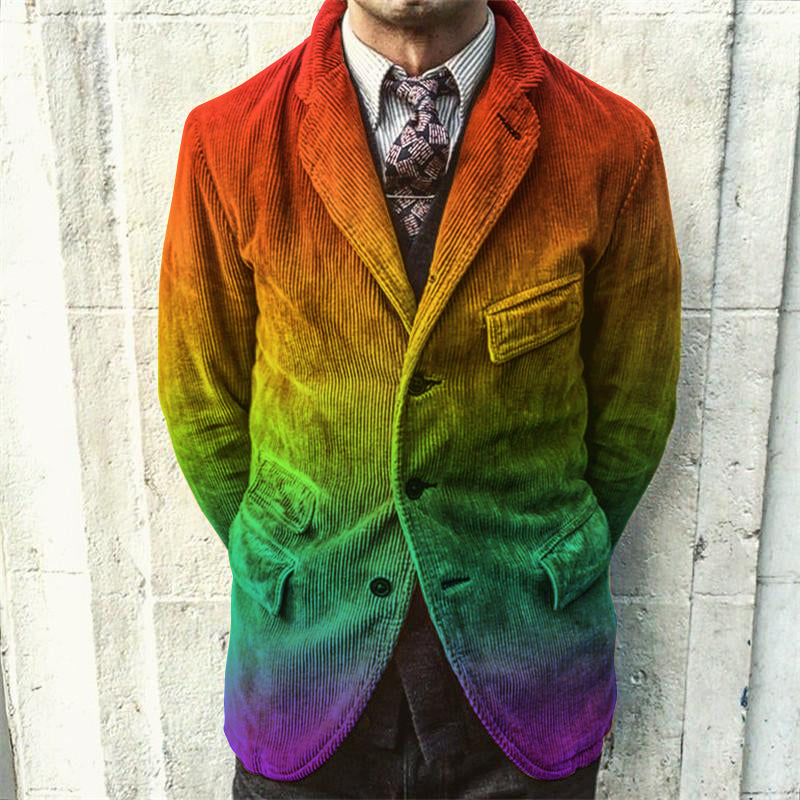Men's Fashion Rainbow Gradient Blazer - yatacity