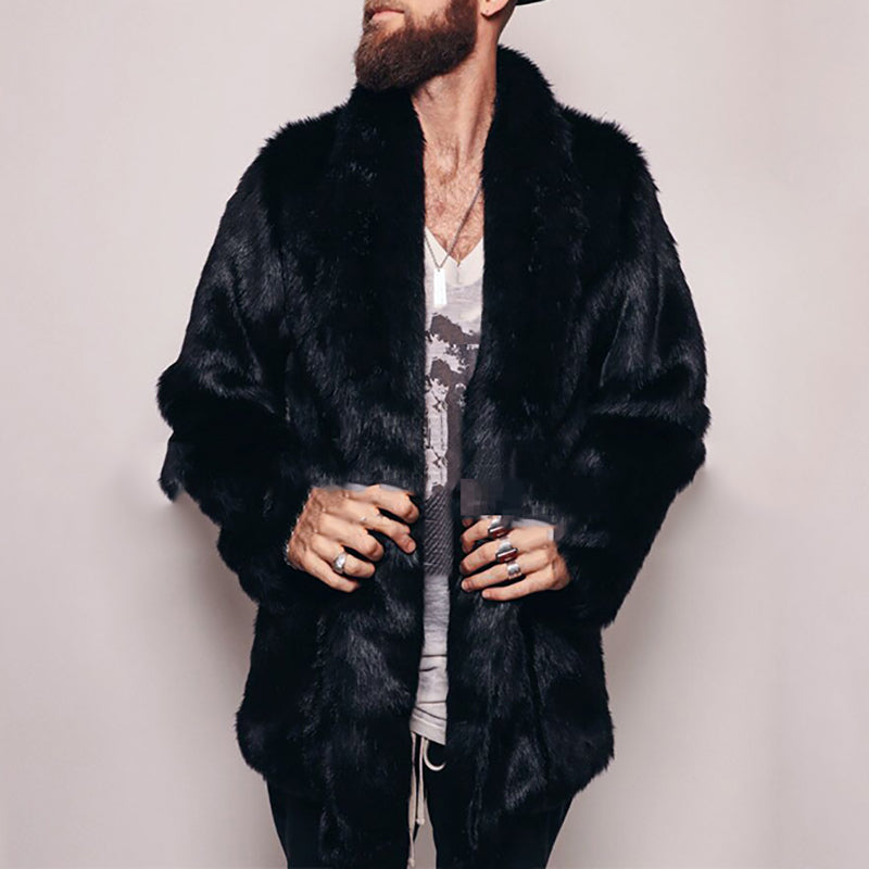 Men's black fur coat new imitation fox fur long coat - yatacity