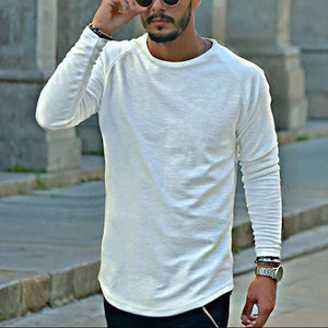 Male fashion solid color round neck long-sleeved T-shirt - yatacity