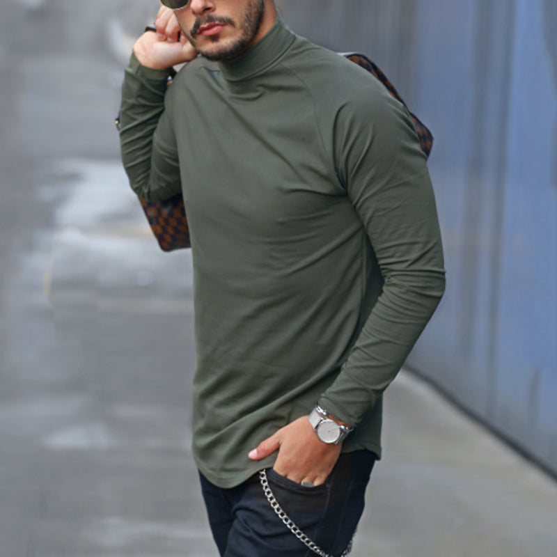 Men's Short Turtleneck Solid Color Raglan Sleeve T-Shirt - yatacity