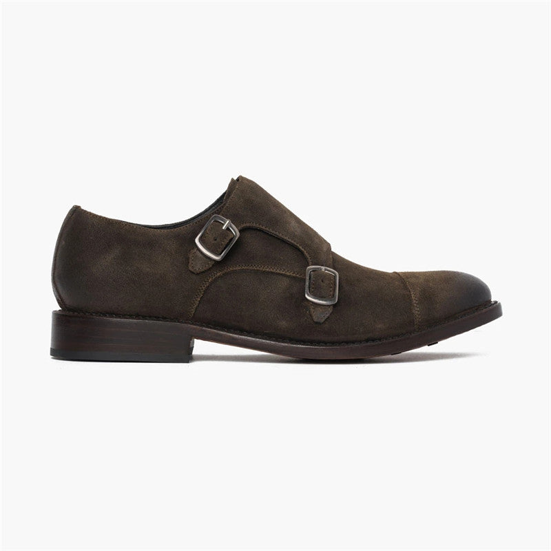 Men's Vintage Solid Color Pointed Leather Shoes - yatacity