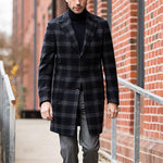 Men's long British retro plaid Coat - yatacity