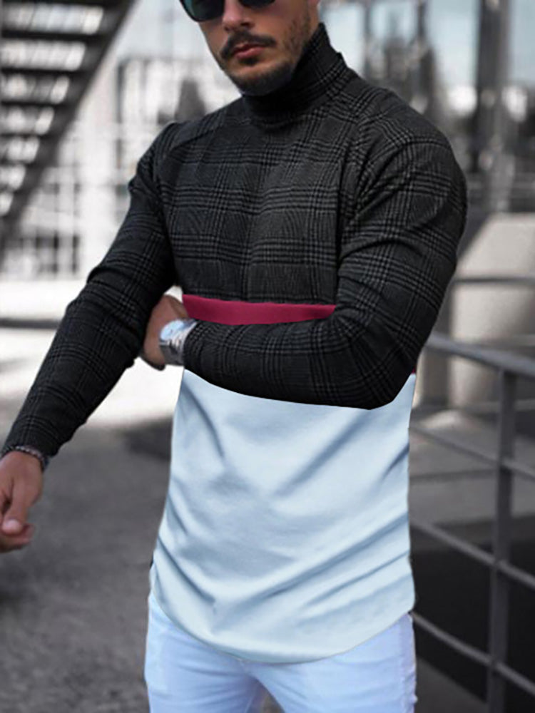 Casual men's high collar long-sleeved spliced T-shirts - yatacity