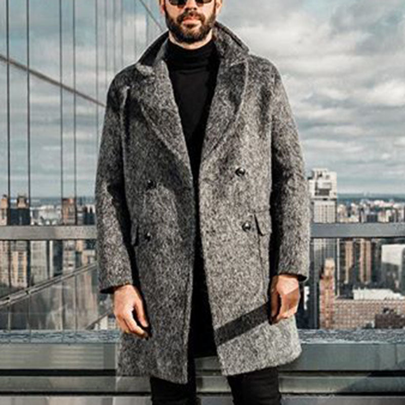 Men's Fashion Pure Color Double-breasted Hairy Coat - yatacity