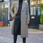Vintage Plaid Large Lapel Double Row Button Overcoat - yatacity
