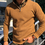 Casual Stand Collar Pure Color Long Sleeve Sweater - yatacity