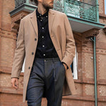 Mens Fashion Solid Colour Single Breasted Trench-Coat - yatacity