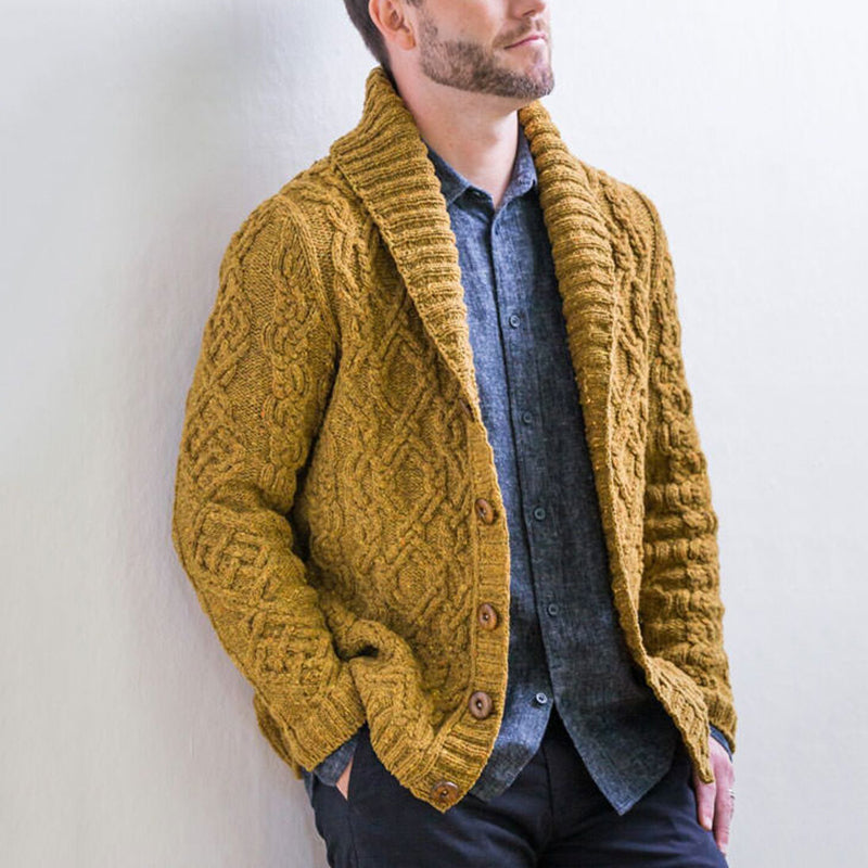 Men's Lapel Single-Breasted Solid Color Sweater Cardigan - yatacity