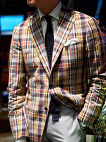 Modern Plaid Men's Pocket Blazer - yatacity