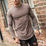 Men's Solid Color Long Sleeve Round Neck T-shirt - yatacity