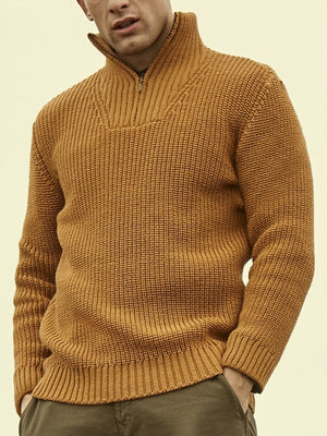 Men'S fashion solid color stand collar sweater - yatacity