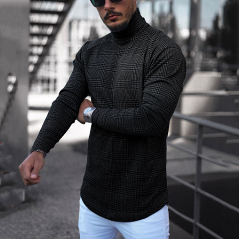 Male Fashion Check high-necked long-sleeved T-shirt - yatacity