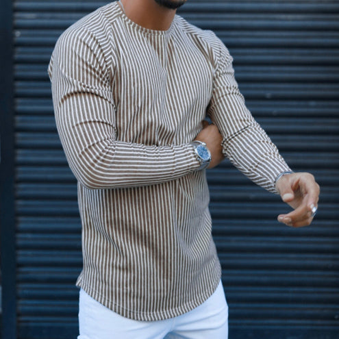 Men's Fashion Vertical Stripe Long Sleeve T-Shirt - yatacity
