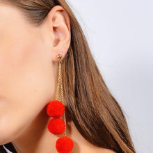 Load image into Gallery viewer, Triple Pom Pom Earrings (Red)