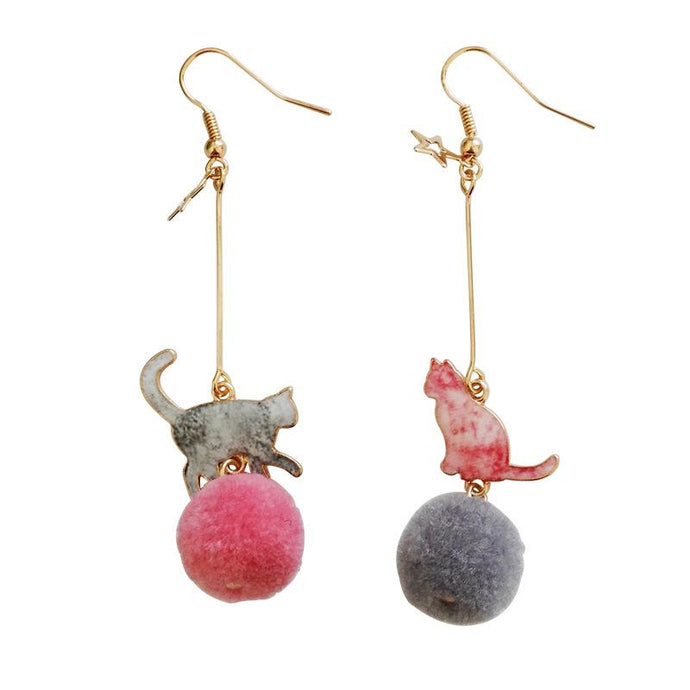 Pink & Grey Cat Pom Pom Earrings